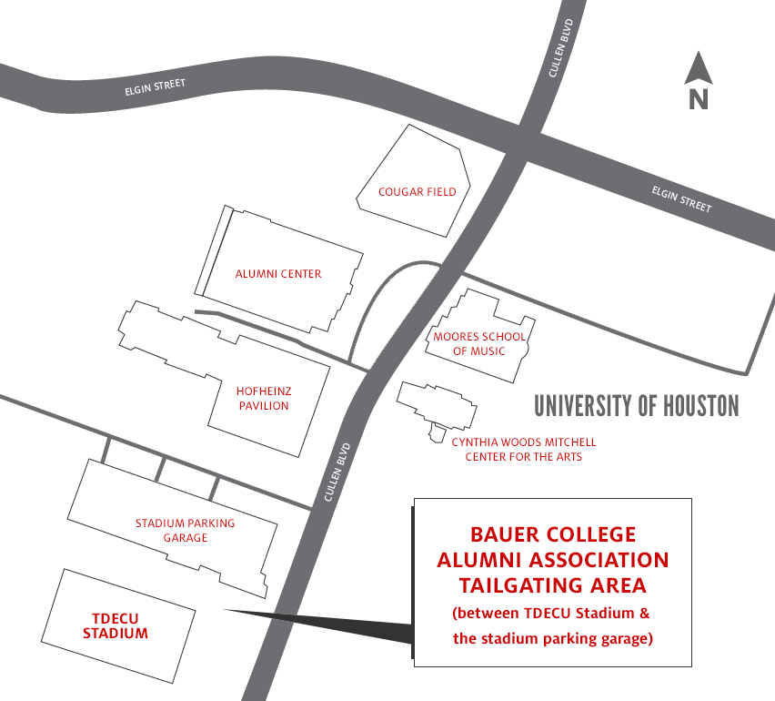 University of Houston alumni tailgating map