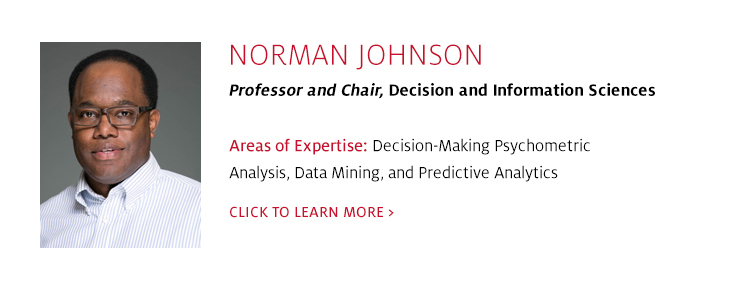 Norman Johnson, Professor and Chair, Decision and Information Sciences, C. T. Bauer College of Business at UH
